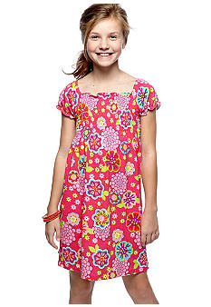 J Khaki Smocked Floral Print Knit Dress Girls 7-16