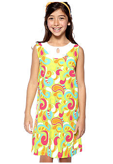 J Khaki Popcorn Print Dress Girls 7-16