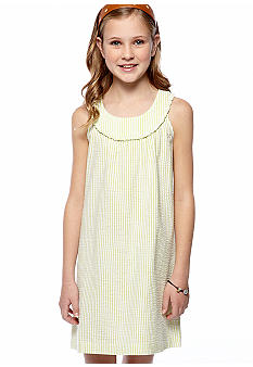 J Khaki Seersucker U-Neck Dress Girls 7-16