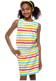 J Khaki Striped Cinched Tie Dress Girls 7-16