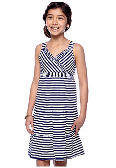 J Khaki Knit Stripe Dress Girls 7-16