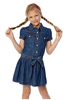 J Khaki Denim Drop Waist Dress Girls 7-16