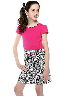 J Khaki Zebra Print Dress Girls 7-16