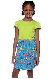 J Khaki Floral Print Dress Girls 7-16