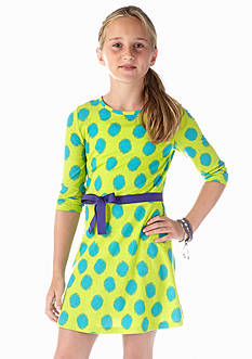 J Khaki™ Dot Skater Dress with Belt Girls 7-16