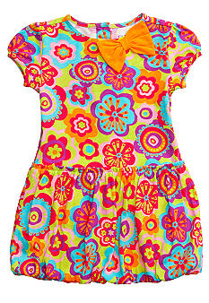 J Khaki Floral Bubble Dress Girls 4-6X
