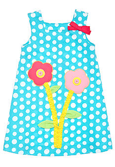 J Khaki Dot Dress with Flower Appliques Girls 4-6X
