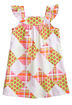 J Khaki Patchwork Print Dress Girls 4-6X