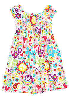 J Khaki Spring Print Dress Girls 4-6X