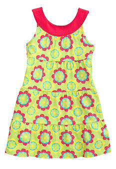 J Khaki Tiered Floral Dress Girls 4-6X