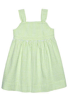 J Khaki Seersucker Button Back Dress Girls 4-6X