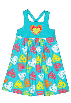 J Khaki Knit Heart Printed Dress Girls 4-6x