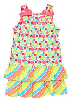 J Khaki Dot and Stripe Printed Dress Girls 4-6x