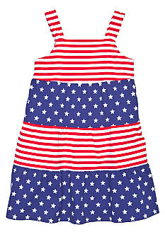 J Khaki Tiered Stars and Stripes Dress Girls 4-6X