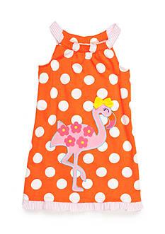 J Khaki™ Sleeveless Flamingo Dot Dress Girls 4-6x