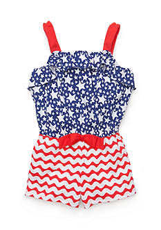 J Khaki™ Patriotic Ruffle Romper Girls 4-6x