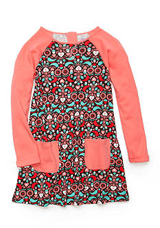 J Khaki™ Heart Acorn Print Dress Girls 4-6X