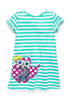 J Khaki™ Stripe Owl Dress Girls 4-6x