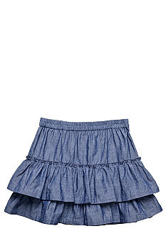 J Khaki Tiered Chambray Skirt Girls 7-16