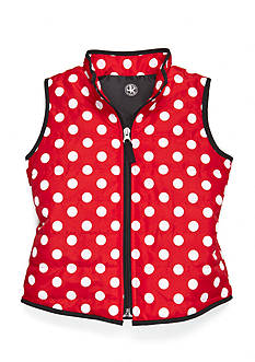 J. Khaki Polka Dot Puffer Vest Girls 4-6x