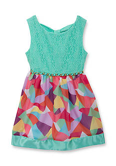 Rare Editions Lace to Geo Print Dress Girls 4-6x