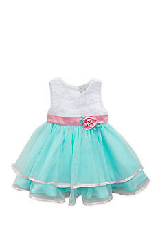 Rare Editions Soutach to Double Ruffle Mesh Dress Girls 4-6x
