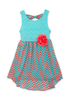 Rare Editions Lace to Chevron Chiffon High Low Dress Girls 4-6x
