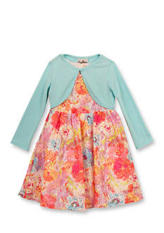 Rare Editions 2-Piece Printed Lace Dress with Cardigan Girls 4-6x