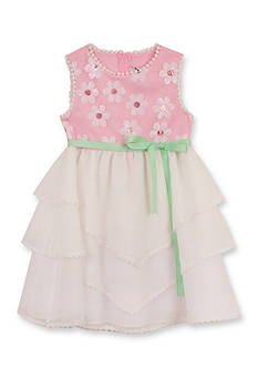 Rare Editions Sequin Daisy Tiered Mesh Dress Girls 4-6x