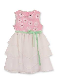 Rare Editions Sequin Daisy Tiered Mesh Dress Girls 4-6x