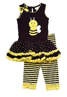 Rare Editions Bee Tutu Legging Set Girls 4-6X - Online Only