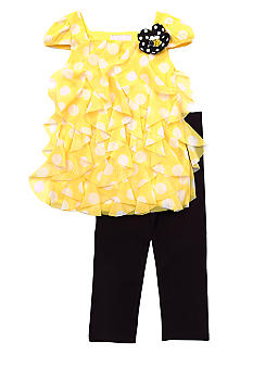 Rare Editions Yellow Dot Chiffon Set 4-6x Girls