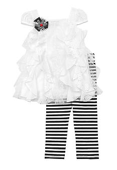 Rare Editions Stripe and Ruffle Legging Set Girls 4-6x