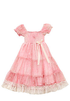 Rare Editions Lace Smock Tiered Dress Girls 4-6X