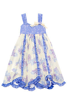 Rare Editions Lace Pieced Butterfly Dress Girls 4-6X
