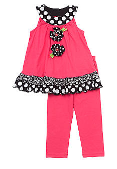 Rare Editions Flower Capri Set Girls 4-6X