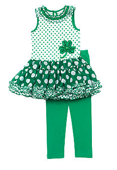 Rare Editions Shamrock Tutu Set 4-6x Girl