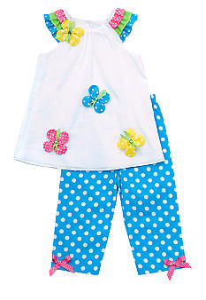 Rare Editions Turquoise Dot Butterfly Capri Set 4-6x Girl