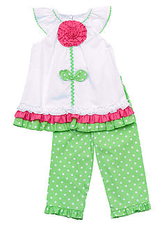 Rare Editions Flower Dot Capri Set 4-6x Girl
