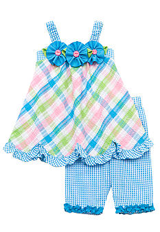 Rare Editions Seersucker Plaid Capri Set Girls 4-6X