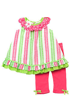 Rare Editions Stripe Seersucker Capri Set Girls 4-6X