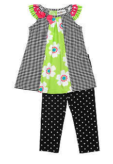 Rare Editions Stripe and Dot Short Set Girls 4-6X