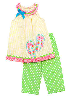 Rare Editions Flip Flop Capri Set Girls 4-6X