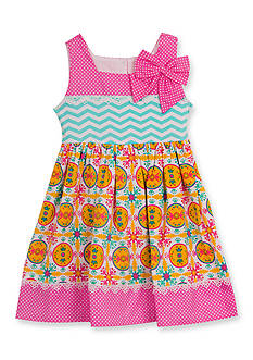 Counting Daisies by Rare Editions Chevron Mixed Print Dress Girls 4-6x