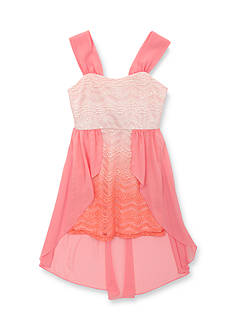 Tween Diva by Rare Editions Ombre Lace Chiffon Overlay High Low Dress Girls 7-16
