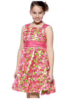 Rare Editions Flower Applique Soutache Dress Girls 7-16