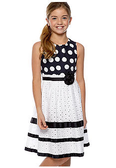 Rare Editions Polka Dot Eyelet Dress Girls 7-16