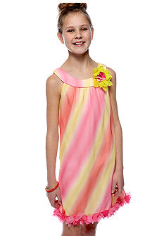 Rare Editions Multi Color U-Neck Dress Girls 7-16