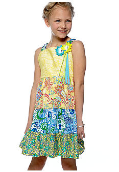 Rare Editions Multi Print Tier Dress Girls 7-16