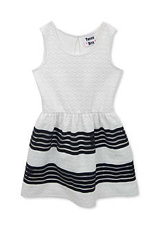 Rare Editions Striped Textured Knit Dress Girls 7-16